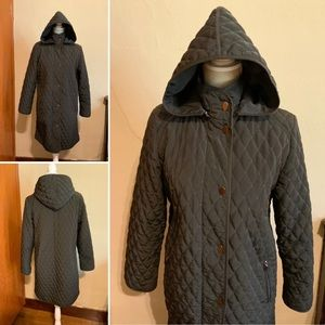 FENNELLI brown quilted car coat wool liner Size 8